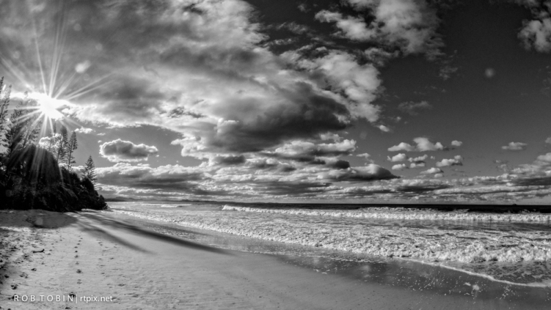 Beach scene with panotomic x for monochrome madness
